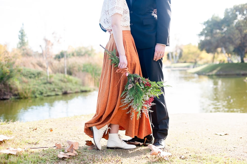 Nicole and Marcus Unique Wedding Dress Bouquet and Suit