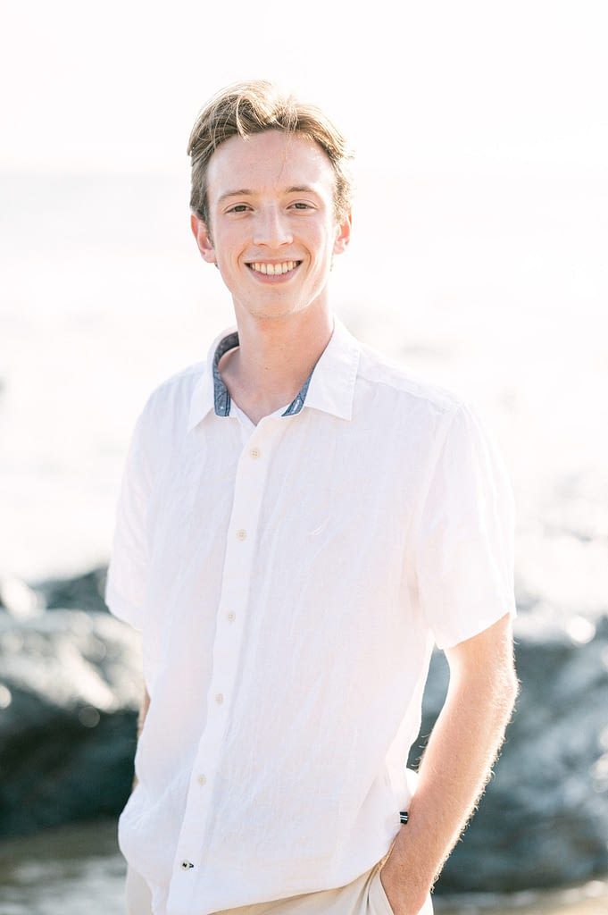 Beautiful portrait of the groom to be at the beach by Amy Huang Photography a San Diego Photographer