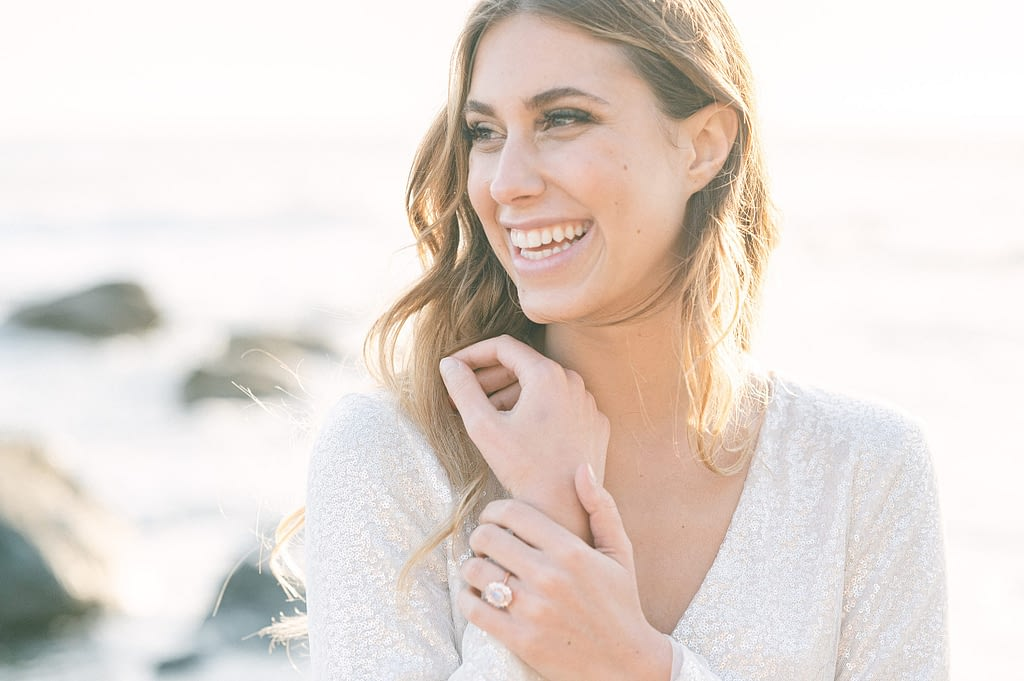 Beautiful bride-to-be showing off her enagagement ring by Amy Huang Photography a San Diego Photographer
