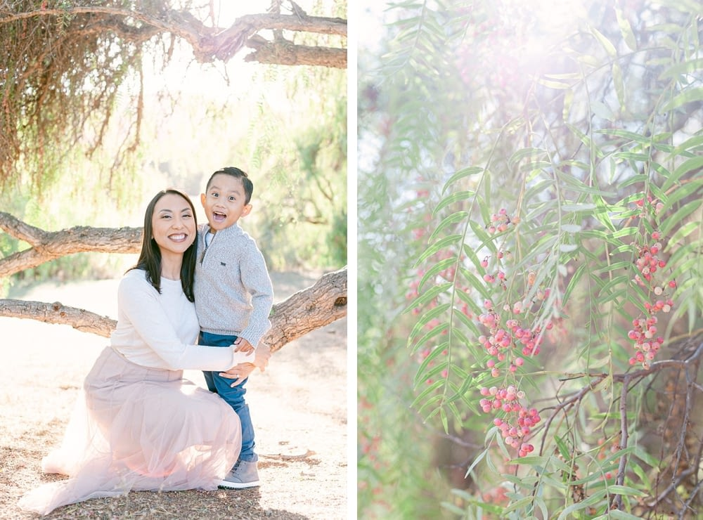 Intimate mother and son photo under a tree at Los Penasquitos Preserve by Amy Huang Photography