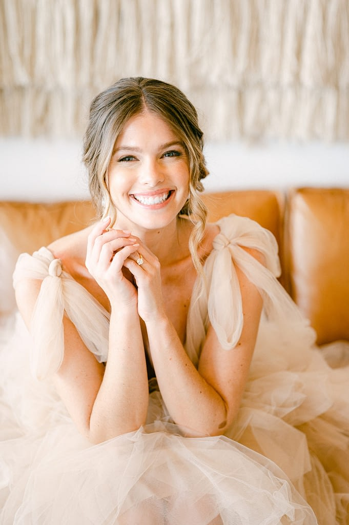 Beautiful bride smiling at the camera and so excited for the day by Amy Huang Photography a San Diego Wedding Photographer