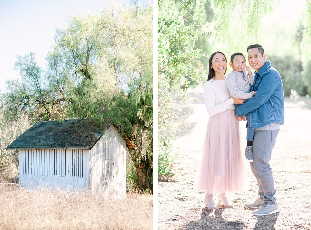 Aquino Family Under The Willow Trees at Los Penasquitos Preserve taken by Amy Huang Photography