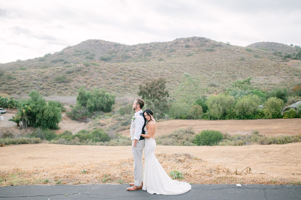 Photo edited by Refined Preset KT Merry of a bride and groom with a beautiful mountain and wide open space in the background.